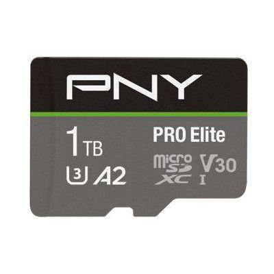 image PNY PRO Elite Carte mémoire microSDXC 1 To + Adaptateur SD, A2 app performance, Vitesse de lecture jusqu'à 100 Mo/s, Classe 10 UHS-1, U3, V30 pour les vidéos 4K