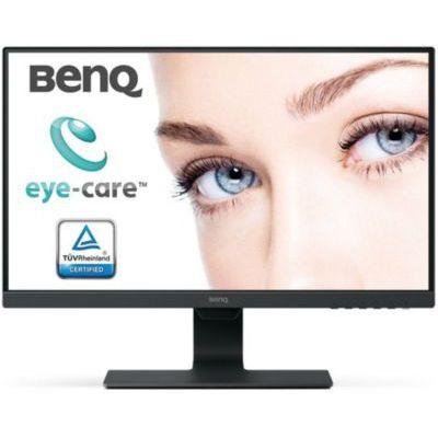 image BenQ GW2480, Écran Eye-Care de 23.8 Pouces, Affichage FHD, IPS, Low Blue Light, Flicker-Free, Cadre Ultra-Fin, HDMI & Amazon Basics Bras de Support Double à Fixation pour écran Hauteur réglable Acier