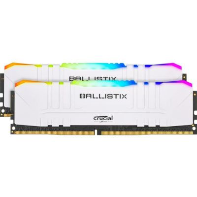 image Crucial Ballistix BL2K8G32C16U4WL RGB, 3200 MHz, DDR4, DRAM, Mémoire Kit pour PC de Gamer, 16Go (8Go x2), CL16, Blanc