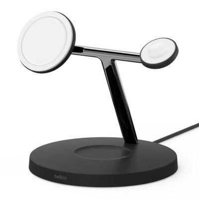 image Belkin WIZ009vfBK Chargeur sans fil 3 en 1 boostcharge pro avec magsafe pour iPhone 12, Apple Watch et Airpods, charge magnétique modèles iPhone 12 jusqu'à 15 W, noir
