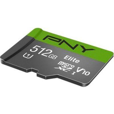image PNY Elite Carte mémoire microSDXC 512 Go + Adaptateur SD, Vitesse de lecture jusqu'à 100 Mo/s, Classe 10 UHS-I, U1, A1 App Performance, V10 pour la vidéo Full HD