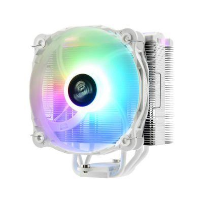image ENERMAX Refroidisseur à air RGB Adressable Blanc pour processeur Intel/AMD Ryzen, Ventilateur Silencieux 14 cm RGB Adressable