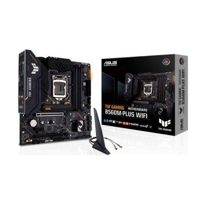 image ASUS TUF GAMING B560M-PLUS WIFI Carte mère Intel B560 LGA 1200 mATX (2xM.2, 8+1 phases d'alimentation, Intel Wi-Fi 6, DisplayPort 1.4, HDMI 2.0, USB 3.2 Gen 2, PCIe 4.0, Thunderbolt 4, Aura Sync RGB)