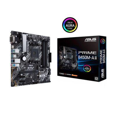 image ASUS PRIME B450M-A II Carte mère AMD B450 Ryzen AM4 micro ATX (M.2 support, HDMI/DVI-D/D-Sub, SATA 6 Gbps, 1 Gb Ethernet, USB 3.2 Gen 2 Type-A, BIOS FlashBack, Aura Sync RGB)