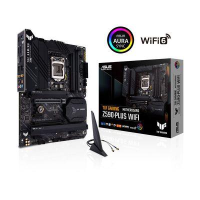 image ASUS TUF GAMING Z590-PLUS WIFI 6 Carte mère Intel LGA 1200 (16 DrMOS, PCIe 4.0, 3xM.2 slots, DDR4 5133 OC, Intel 2.5Gb Ethernet, HDMI, DisplayPort, USB 3.2 Gen 2x2 Type-C, Thunderbolt 4, Aura Sync)