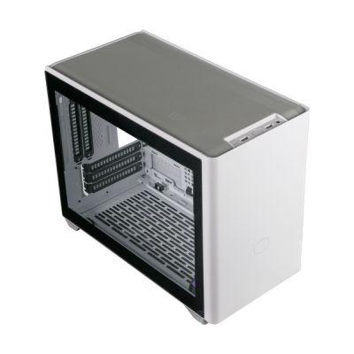 image Cooler Master MasterBox NR200P Boîtier PC Mini Tour ITX, panneau latéral en verre trempé, options de refroidissement supérieures, affichage GPU vertical, accessibilité à 360 degrés sans outil, Blanc