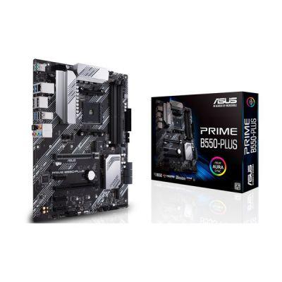 image ASUS PRIME B550-PLUS – Carte mère AMD B550 (Ryzen AM4) avec Dual M.2, PCIe 4.0, DDR4 4400, Ethernet 1Gb, DisplayPort/HDMI, USB 3.2 Gén.2 Type-A/C et connecteurs pour Aura Sync RGB