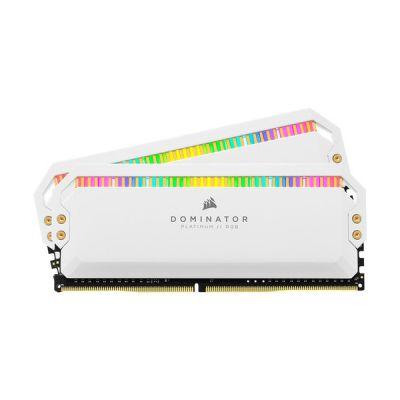 image Corsair Dominator Platinum RGB 16Go (2x8Go) DDR4 3200MHz C16, Eclairage LED RGB Mémoire de Bureau Optimisée AMD (Performances Haute, Temps Réponse Rapides, 12 paramétrables CAPELLIX RGB LED) - Blanc