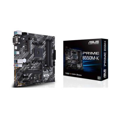 image ASUS PRIME B550M-K – Carte mère AMD B550 (Ryzen AM4) au format micro ATX motherboard avec double M.2, PCIe 4.0, DDR4 4400 Ethernet 1Gb, HDMI/D-Sub/DVI et USB 3.2 Gén. 2 Type-A