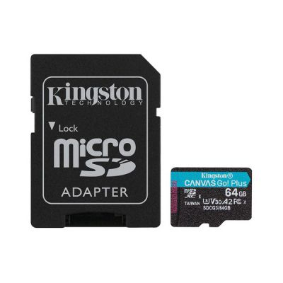 image Kingston SDCG3/64GB Carte mémoire microSD ( 64GB microSDXC Canvas Go Plus 170R A2 U3 V30 Avec SD adaptateur )