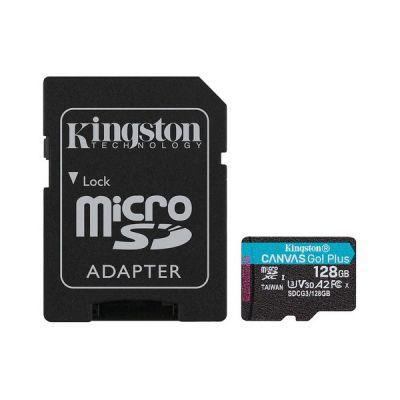 image Kingston SDCG3/128GB Carte mémoire microSD ( 128GB microSDXC Canvas Go Plus 170R A2 U3 V30 Avec SD adaptateur )