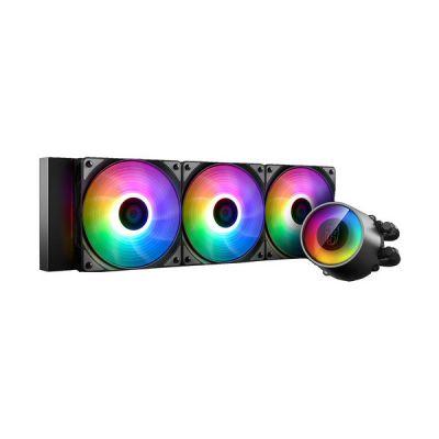 image Deepcool Castle 360 Rgb V2 Système de refroidissement Anti-Leak Radiateur de 360 mm Dissipateur à liquide Rgb Rainbow Addressable 5 V Add RGB 3 broches compatible Intel 115X/2066 et Amd Tr4/Am4