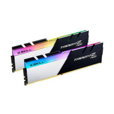 image Kit Barrettes mémoire 16Go (2x8Go) DIMM DDR4 G.Skill Trident Z Neo Go PC4-25600 (3200 MHz) (Gris et Noir), F4-3200C14D-16GTZN