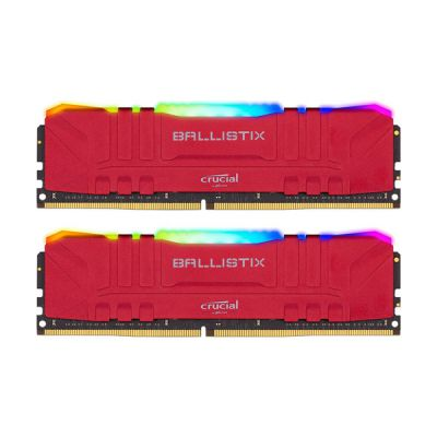 image Crucial Ballistix BL2K8G30C15U4RL RGB, 3000 MHz, DDR4, DRAM, Mémoire Kit pour PC de Gamer, 16Go (8Go x2), CL15, Rouge