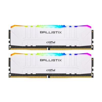 image Crucial Ballistix BL2K16G30C15U4WL RGB, 3000 MHz, DDR4, DRAM, Mémoire Kit pour PC de Gamer, 32Go (16Go x2), CL15, Blanc