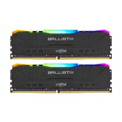 image Crucial Ballistix BL2K32G32C16U4BL RGB, 3200 MHz, DDR4, DRAM, Mémoire Kit pour PC de Gamer, 64Go (32Go x2), CL16, Noir