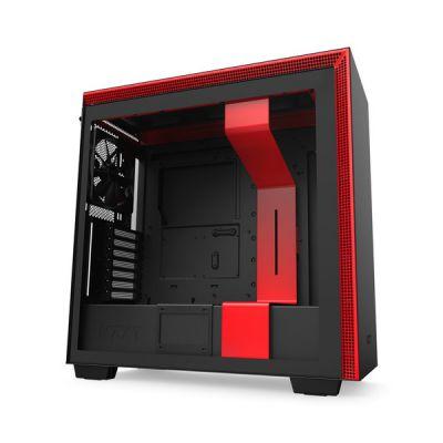 image NZXT H710 - Boîtier PC Gaming Moyenne Tour ATX- Port I/O USB Type-C en Façade - Panneau Latéral à Dégagement Rapide - Compatible Refroidissement Liquide - Construction en Acier - Noir/Rouge