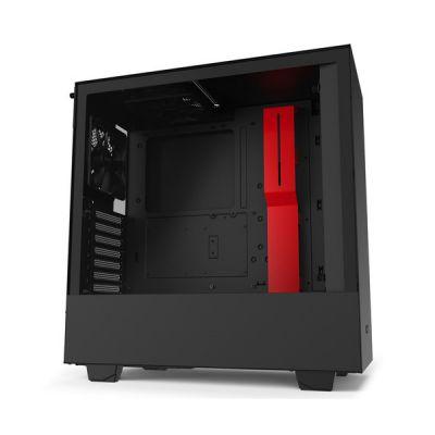 image NZXT H510 - Boîtier PC Gaming ATX Moyenne Tour Compact - Port I/O USB Type-C en Façade - Panneau latéral en Verre Trempé - Compatible Refroidissement Liquide - Noir/Rouge