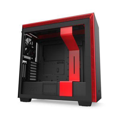 image NZXT H710i - Boîtier PC Gaming Moyenne Tour ATX - Port I/O USB Type-C en Façade - Panneau Latéral à Dégagement Rapide - Montage Vertical du Processeur Graphique ( GPU ) - Noir/Rouge