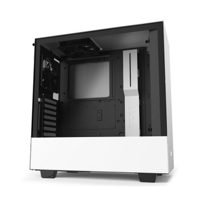 image NZXT H510i - Boîtier PC Gaming ATX Moyenne Tour Compact - Port I/O USB Type-C en Façade - Montage Vertical du Processeur Graphique ( GPU ) - Panneau Latéral en Verre Trempé - Noir/Blanc