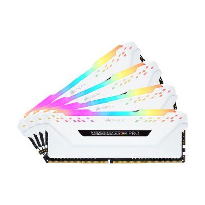 image Corsair Vengeance RGB PRO - Kit de Mémorie Enthousiaste (32Go (4x8Go), DDR4, 3200MHz, C16, XMP 2.0) Eclairage LED RGB dynamique - Blanc