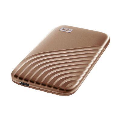 image WD My Passport SSD 2 To - Disque SSD externe avec technologie NVMe, USB-C, vitesses de lecture jusqu'à 1050 Mo / s et vitesses d'écriture jusqu'à 1000 Mo / s - Doré