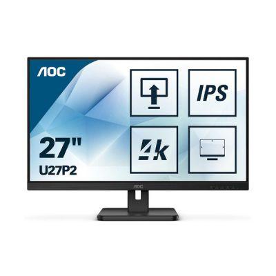 image AOC Moniteur U27P2 68cm (27pouces) (HDMI, DisplayPort, hub USB, temps de réponse de 4ms, 3840x2160, 60Hz, pivot) noir