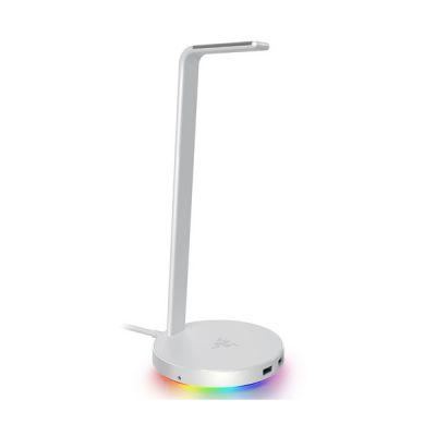 image Razer Base Station V2 Chroma - Support pour casque / casque avec concentrateur USB: Éclairage Chroma RGB - 2 ports USB 3.1 - Base antidérapante - Conçu pour les casques de jeu - Blanc Mercury