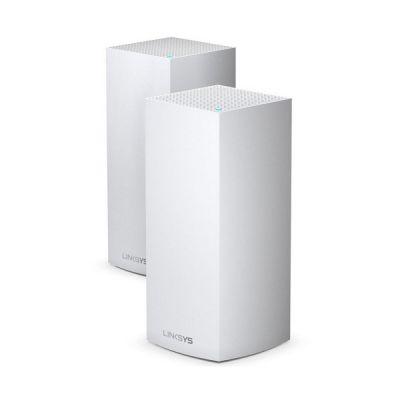 image Linksys Système Wi-Fi 6 Mesh Multiroom triple bande Linksys Velop MX10600 (portée de signal sans fil jusqu'à 525 m2 et pour un débit 4 fois supérieur sur 100 appareils ou plus, pack de 2, blanc)