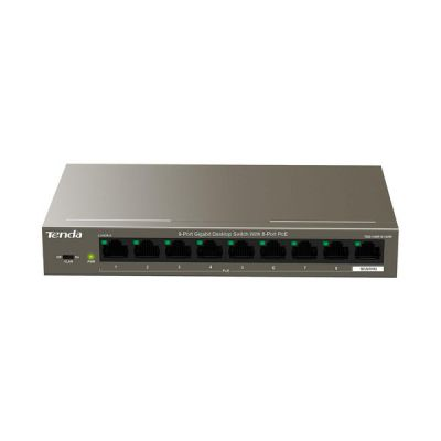 image Tenda PoE Switch 9 Ports 10/100/1000 mbps (TEG1109P-8-102W), IEEE 802.3af/at, 8 Ports PoE 102W, Plug et Play, Format Bureau, Boîtier Métal, Idéal pour Les Projets de Surveillance IP HD
