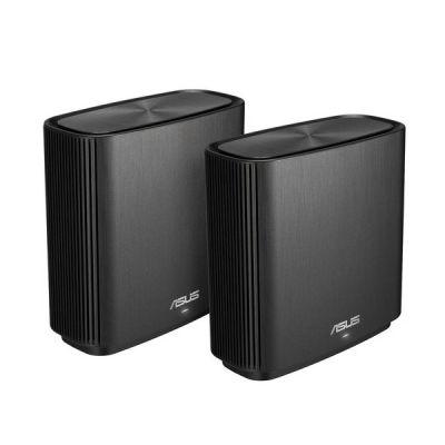 image ASUS ZenWiFi CT8 Noir - Pack de 2 - Système Wi-FI AC Mesh, Tri-Bande, 3000 Mbit/s, 500m2, AiProtection avec TrendMicro à vie, Port WAN/LAN 2,5 Gigabit + 3 Ports LAN Gigabit, AiMesh