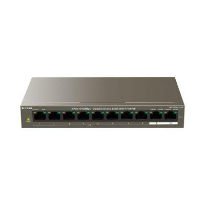 image Tenda TEF1110P-8-102W Fast Ethernet (10/100) Connexion Ethernet, supportant l'alimentation Via ce Port (PoE) Gris