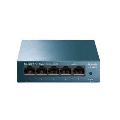 image TP-Link LS105G Switch Ethernet Gigabit 5 Ports Metallique 10/100/1000 Mbps (Vitesse jusqu'à 2000Mbps) Bleu & Amazon Basics Câble réseau Ethernet RJ45 catégorie6-1,5 m