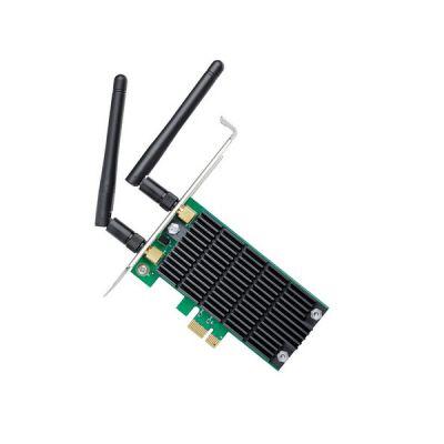 image TP-Link Carte WiFi PC PCI Express (PCIe) Adaptateur WiFi bi-bande AC 1200 Mbps, 867 Mbps sur 5 GHz et 300 Mbps sur 2,4 GHz, Antennes détachables, Beamforming, MIMO 2×2 , Noir, Vert, Archer T4E