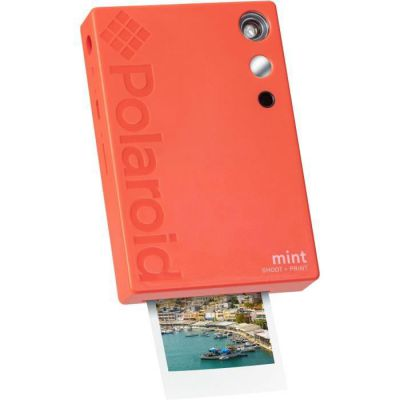 image Polaroid Mint Appareil photo numérique à impression instantanée (Rouge), impression sur papier photo collé sur support Zink 2x3