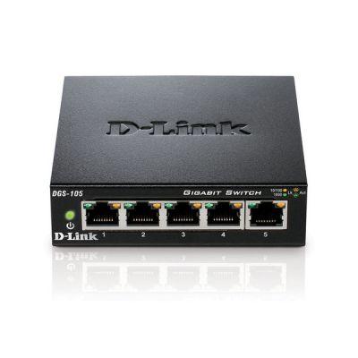 image D-Link DGS-105 Switch 5 Ports Gigabit Metallique 10/100/1000mbps - Idéal Partage de Connexion et Mise en Réseau Small/Home Office
