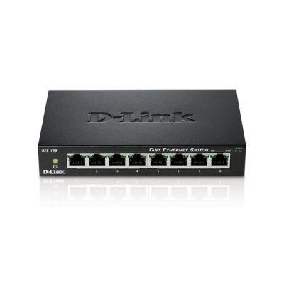image D-Link DES-108 Switch 8 Ports Ethernet Metallique 10/100mbps - Idéal Partage de Connexion et Mise en Réseau Small/Home Office Noir