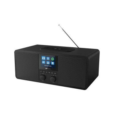 image Philips R8805/10 Radio Internet, Radio Bluetooth avec Spotify Connect (Bloc de Chargement Qi pour téléphones Mobiles, USB, Mise en Veille programmable, Alarme duale) Noir - Modèle 2020/2021