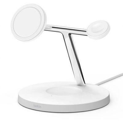 image Belkin WIZ009vfWH Chargeur sans fil 3 en 1 boostcharge pro avec magsafe pour iPhone 12, Apple Watch et Airpods, charge magnétique modèles iPhone 12 jusqu'à 15 W, blanc