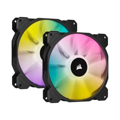 image Corsair iCUE SP140 RGB ELITE Performance 140 mm Kit de Deux Ventilateurs avec iCUE Lighting Node CORE (Technologie CORSAIR AirGuide, Huit LED RGB Paramétrables, Silencieux Niveau Sonore 18 dBA) Noir