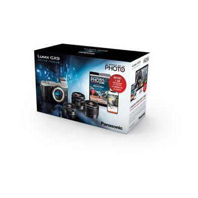 image Appareil photo hybride Panasonic Pack Lumix Gx9 Argent + G 12-32mm f/3,5-5,6 + G 35-100mm f/4-5,6 + G 25mm f/1.7 + 1 an d'abonnement au magazine Le Monde de La Photo + 2ème Batterie