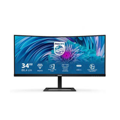 image Philips Écran incurvé 346E2CUAE 86cm (34pouces) (HDMI, DisplayPort, USB-C, 3440x1440px, 100Hz, FreeSync) noir