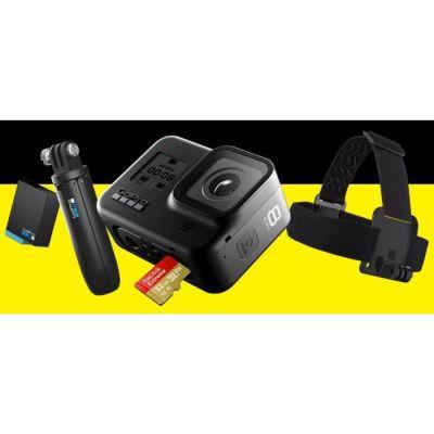 image GoPro Pack HERO8 Black - Comprend Shorty, Bandeau, Batterie de Rechange et Carte mémoire de 32 Go & Chargeur de Batterie Double avec Batterie, Accessoire Officiel GoPro