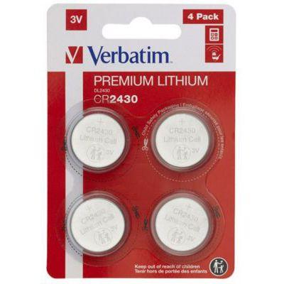 image VERBATIM Premium Piles boutons au Lithium CR2430 lot de 4 3V 290 mAh - Piles au lithium pour horloge, clé de voiture, télécommande, appareil photo, jouets et autres - Pile bouton au lithium