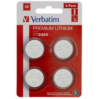 image VERBATIM Premium Piles Boutons au Lithium CR2450 Lot de 4 3V 580 mAh - Piles au Lithium pour Horloge, clé de Voiture, télécommande, Appareil Photo, Jouets et Autres - Pile Bouton au Lithium