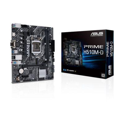 image ASUS PRIME H510M-D Carte mère Intel H510 LGA 1200 mATX (PCIe 4.0, M.2 slot, Ethernet Intel 1 Gb, HDMI, D-Sub, USB 3.2 Gen 1 Type-A, SATA 6 Gbs, connecteur COM, LPT et RGB, FAN Xpert, Armoury Crate)