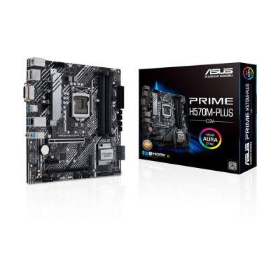 image ASUS PRIME H570M-PLUS Carte mère Intel H570 LGA 1200 ATX (PCIe 4.0, 8 phases d'alimentation, DisplayPort, HDMI, DVI, SATA 6 Gb, USB 3.2 Gen 2 Type-C, Ethernet Intel 1 Gb, Thunderbolt 4, Aura Sync RGB)