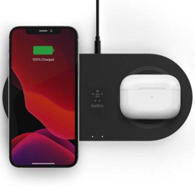 image Belkin Double station de recharge à induction BoostCharge (chargeur sans fil double, 15W, recharge rapide et simultanée de 2appareils, pour iPhone, AirPods, Galaxy, Pixel, etc., noir)