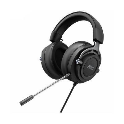 image AOC GH200 Casque de Gaming avec Son stéréo, Prise Audio 3,5 mm et Microphone Noir