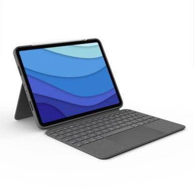 image Logitech Combo Touch iPad Pro 11 pouces (1re, 2e, 3e gén - 2018, 2020, 2021) Etui Clavier Clavier Rétroéclairé Détachable, Trackpad Click Anywhere, Smart Connector, Clavier Français AZERTY - Gris